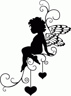 Angel Wall Sticker File Free CDR Vectors Art