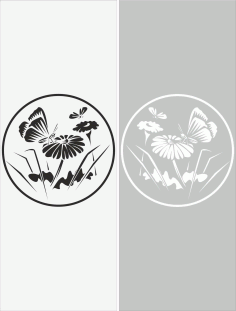Glass Floral Sticker Decal File Free CDR Vectors Art