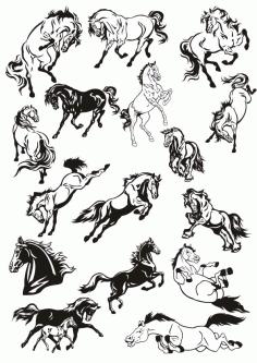 Horse Stickers Art Collection File Free CDR Vectors Art