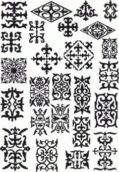Kazakh Ornament Set Of Elements File Free CDR Vectors Art