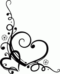 Love Heart Floral File Free CDR Vectors Art