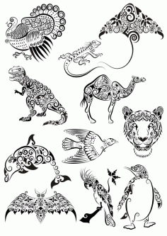 Ornament Animals Tattoo Pack File Free CDR Vectors Art