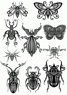 Ornament Insect Art Pack File Free CDR Vectors Art