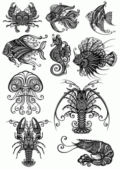 Ornament Sea Amimals Art Pack File Free CDR Vectors Art