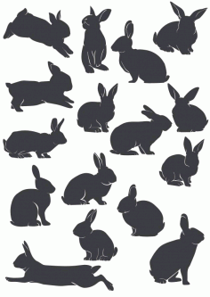 Rabbit Silhouette File Free CDR Vectors Art