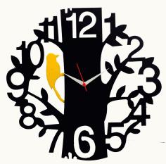 Tree Bird Black Wood Wall Clock File Free CDR Vectors Art