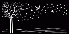 Tree Start Bird Art File Free CDR Vectors Art