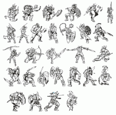 A Big Collection Of warriors-vikings Free DXF File