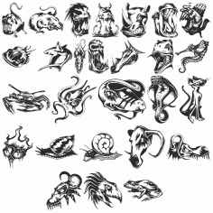 Angry Animals Sketches Of Tattoos Free DXF File