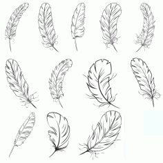 Collection Of Feathers Free DXF File