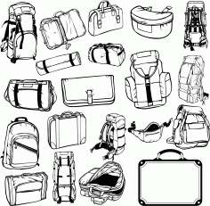 Collection Of Hiking Backpacks And Bags For Plotter Cutting Free DXF File