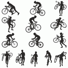Collection Of Silhouettes Of Bicyclists Free DXF File