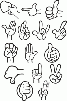 Different Gestures Of Hands Free DXF File