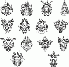 mock-ups Of Motorcycle Stickers Collection #1 Free DXF File