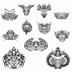 mock-ups Of Motorcycle Stickers Collection #4 Free DXF File