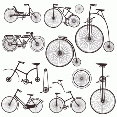 Silhouettes Of Retro Bicycles Free DXF File