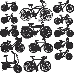 Various Silhouettes Of Bicycles Free DXF File