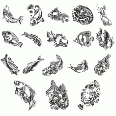 Fish Collection For Plotter Cutting Free DXF File