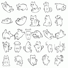 Silhouettes Of One Funny Kitten Free DXF File
