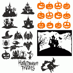 а Cool Collection Of Images For Halloween For Plotter Cutting Free DXF File