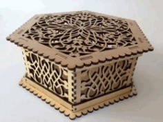 Hexagon Wooden Box Download For Laser Cut Free DXF File