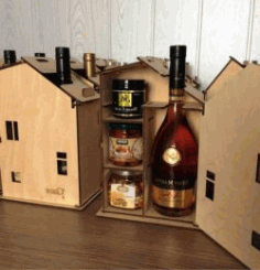 House Shaped Wine Box File Download For Laser Cut Free DXF File
