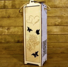 Wedding Wine Box File Download For Laser Cut Free DXF File