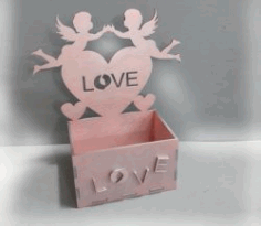 Box With Angels Love Heart Download For Laser Cut Cnc Free DXF File