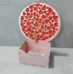 Box With Hearts Tree Download For Laser Cut Cnc Free DXF File