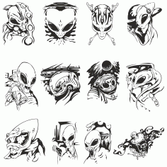 Collection Of Aliens For Plotter Cutting Free DXF File