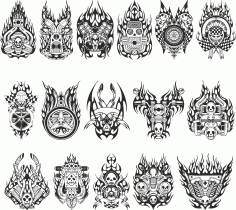 mock-ups Of Motorcycle Stickers Collection #2 Free DXF File
