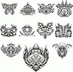 mock-ups Of Motorcycle Stickers Collection #3 Free DXF File