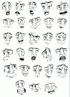 Smileys Mens Facial Expression Part 2 Free DXF File