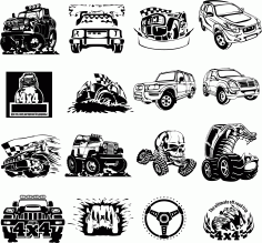 Stickers 4×4 Collection Free DXF File
