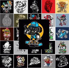 Templates Stickers Cool Diverse #02 Free CDR Vectors Art