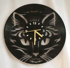 Cat Face Wall Clock Laser Cut File Free CDR Vectors Art
