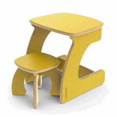 Laser Cut Kids Study Desk And Chair File Free CDR Vectors Art
