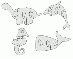 Seahorse Jigsaw Puzzle Dxf Free DXF File
