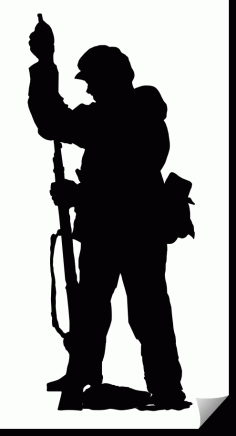Soldier Silhouette Vertical Rifle Free DXF File