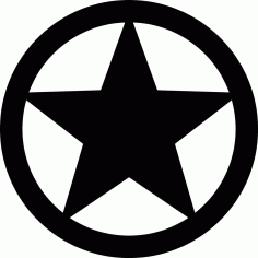 Star In Circle Free DXF File