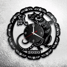 Laser Cut New Year 2020 Wall Clock Free DXF File