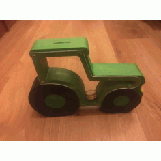 Laser Cut Tractor Piggy Bank Free DXF File