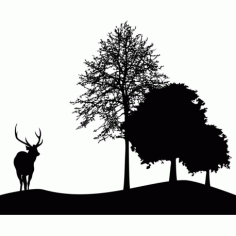 Deer And Tree Silhouette Free DXF File