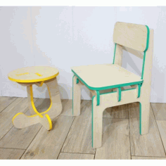 Furniture children's Stool And Highchair Free DXF File