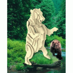 Grizzly Bear 3d Wooden Puzzle Free DXF File