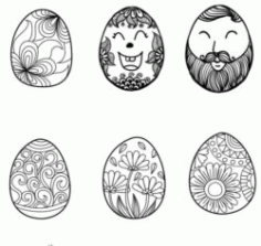 Face Decorated With Easter Eggs Download For Laser Engraving Machines Free DXF File