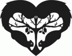 Heart With Two Squirrels Download For Laser Cut Free DXF File