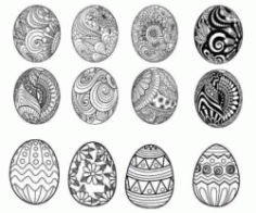Pattern Decorated With Easter Eggs Download For Laser Engraving Machines Free DXF File