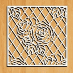 Roses Decorated Square Frame Download For Laser Cut Free DXF File