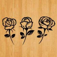 Set Of Carved Roses Download For Laser Engraving Machines Free DXF File